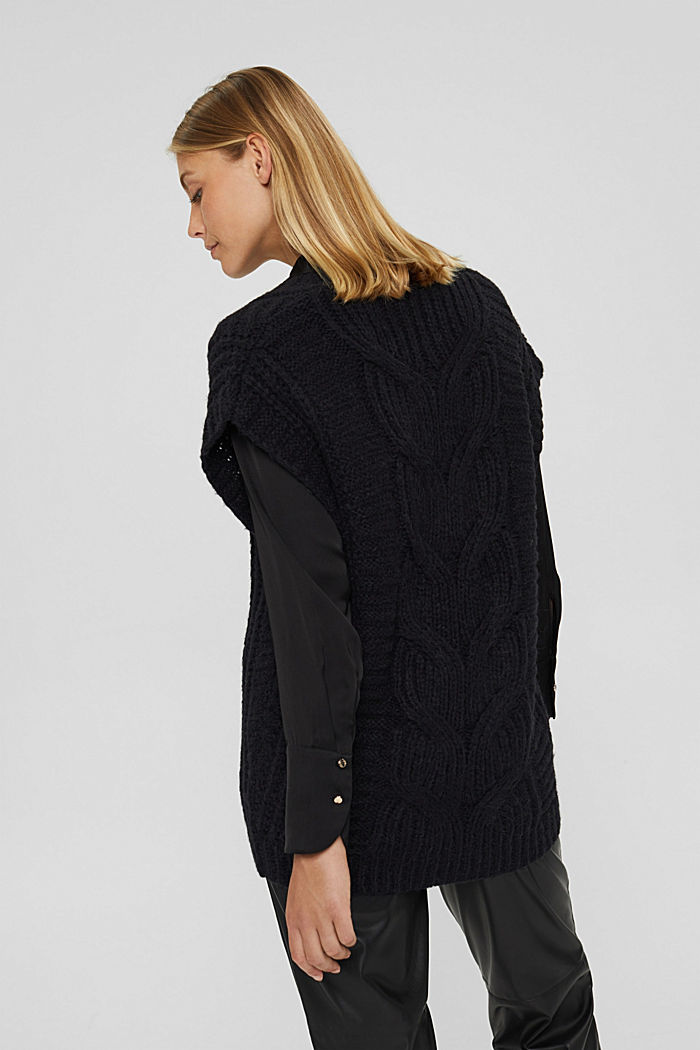 Mit Alpaka/Wolle: Zopfstrick-Pullunder, BLACK, detail image number 3