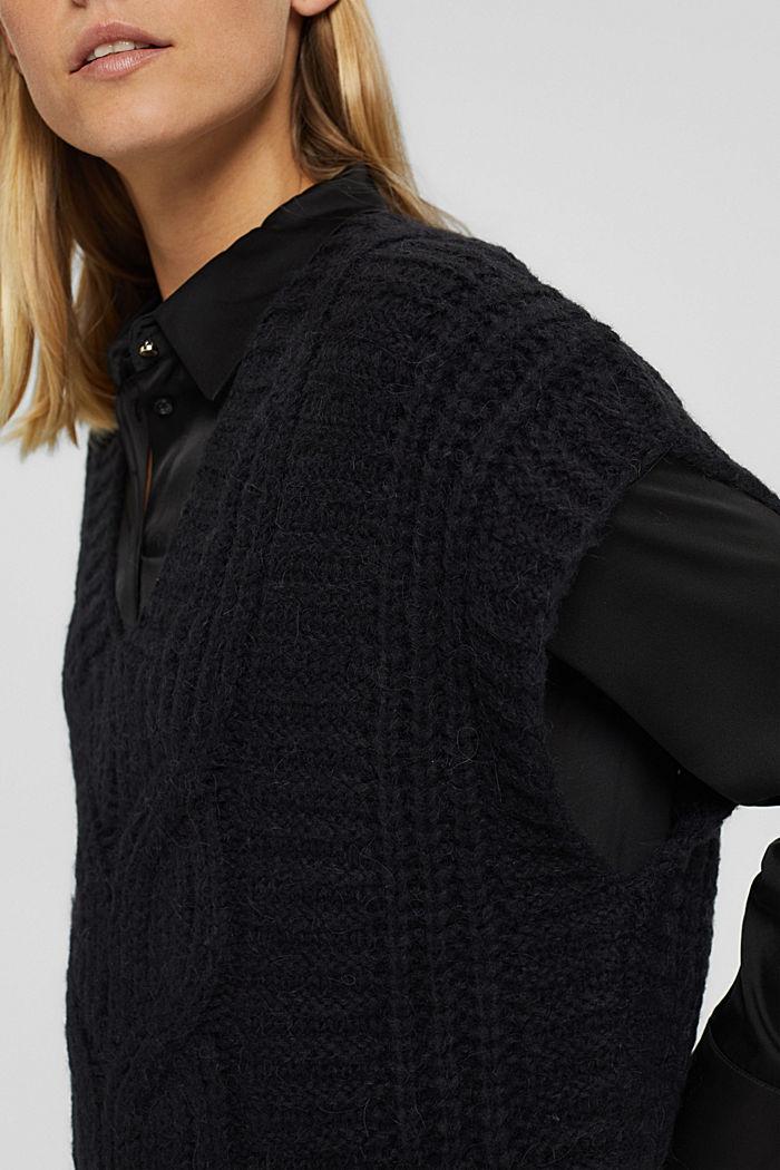 Mit Alpaka/Wolle: Zopfstrick-Pullunder, BLACK, detail image number 2