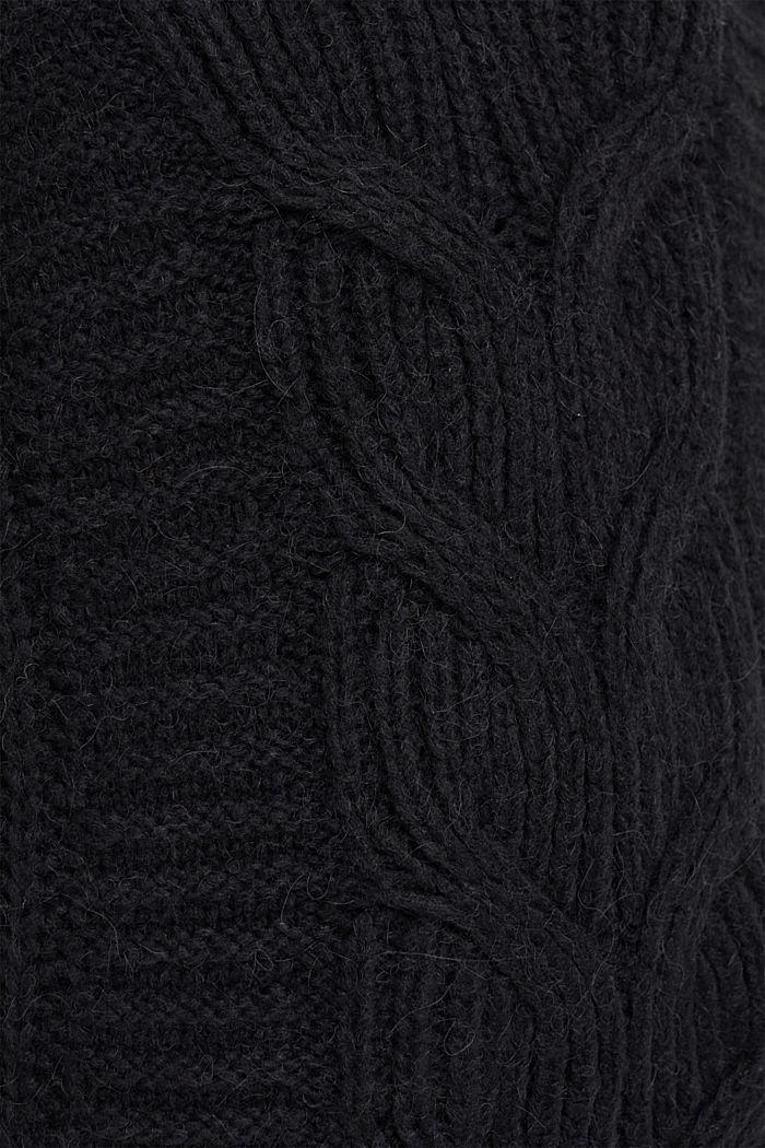Mit Alpaka/Wolle: Zopfstrick-Pullunder, BLACK, detail image number 4