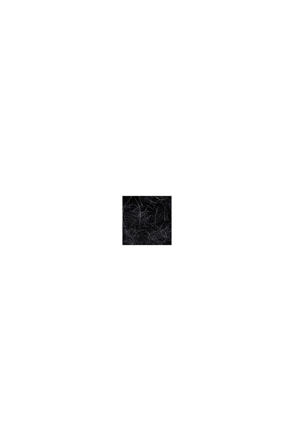 Med alpacka/ull: Flätstickad väst, BLACK, swatch