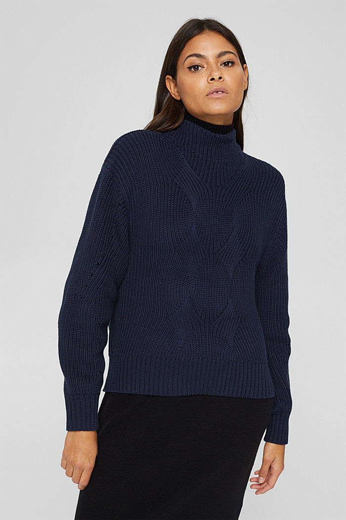 Musterstrick-Pullover aus Organic Cotton, NAVY, detail image number 0