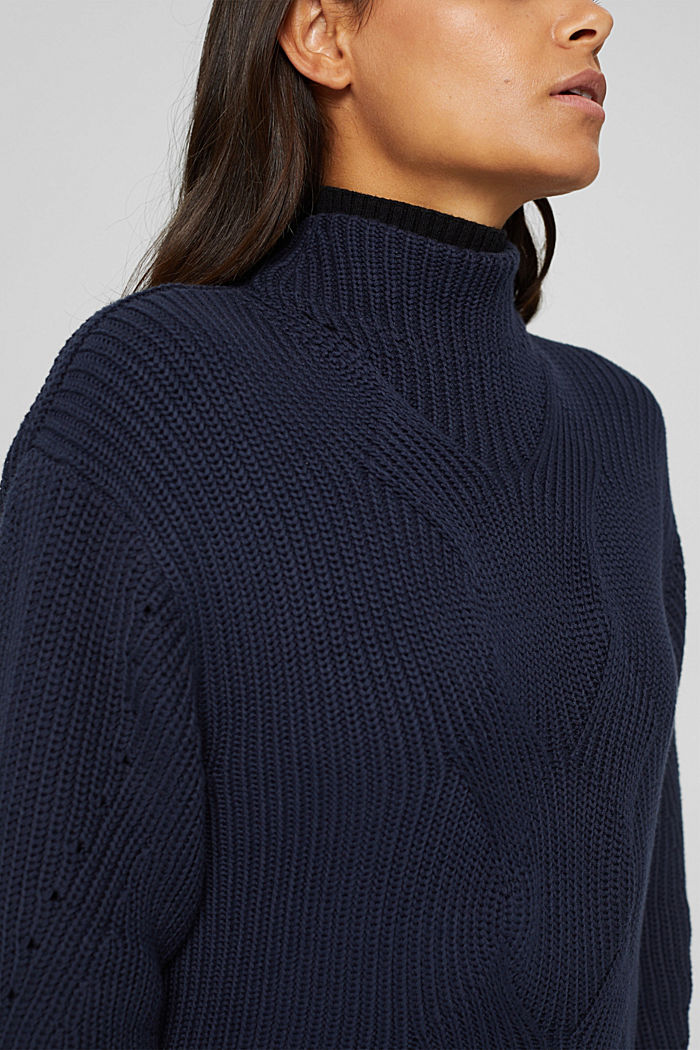 Musterstrick-Pullover aus Organic Cotton, NAVY, detail image number 2