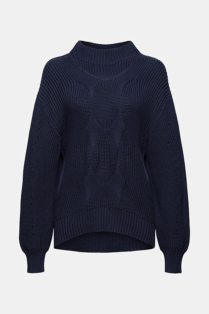 Musterstrick-Pullover aus Organic Cotton, NAVY, detail image number 6