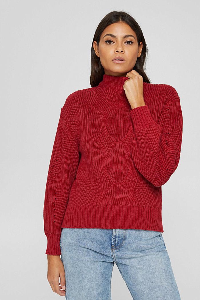 Musterstrick-Pullover aus Organic Cotton, DARK RED, detail image number 0
