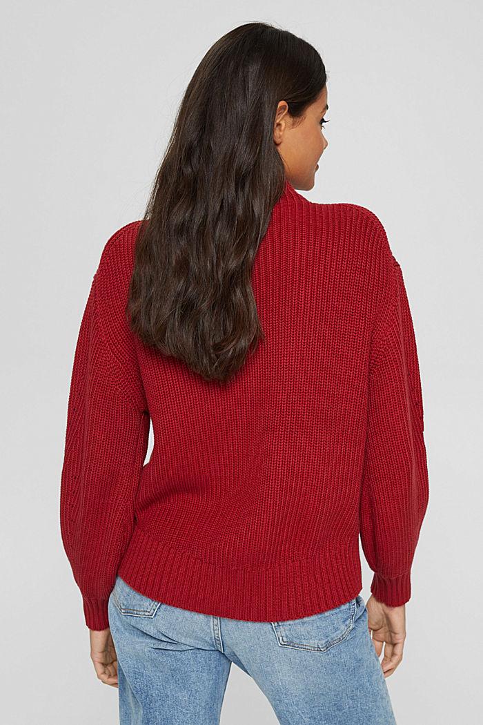 Musterstrick-Pullover aus Organic Cotton, DARK RED, detail image number 3