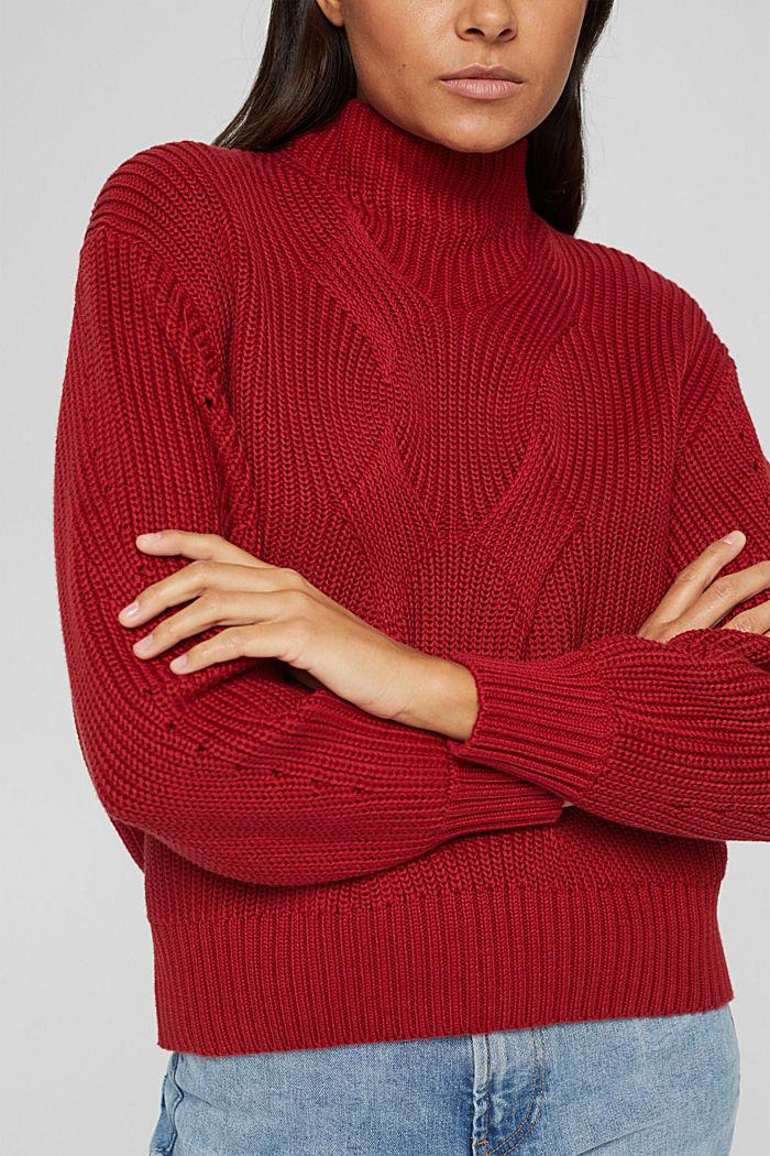 Musterstrick-Pullover aus Organic Cotton, DARK RED, detail image number 2