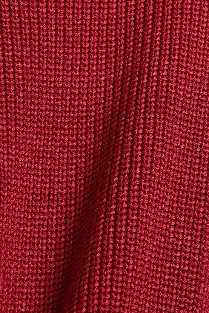 Musterstrick-Pullover aus Organic Cotton, DARK RED, detail image number 4