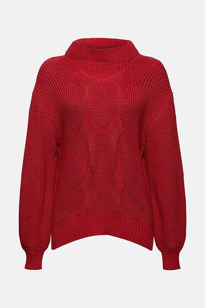 Musterstrick-Pullover aus Organic Cotton, DARK RED, detail image number 6