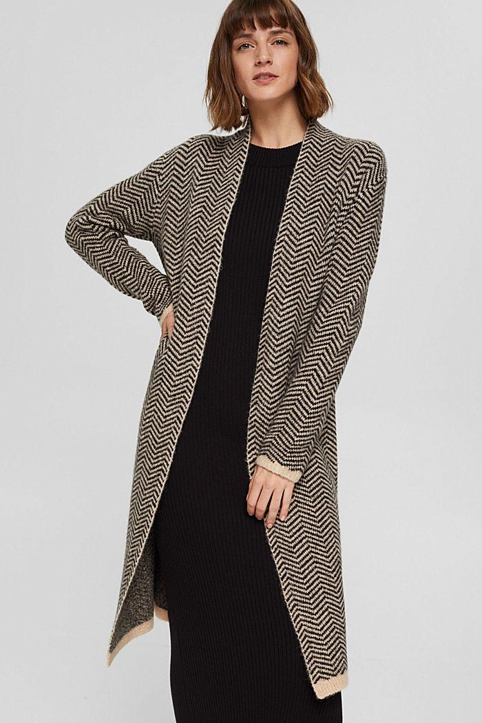 Con lana: cárdigan con diseño de espiga, BLACK, detail image number 0
