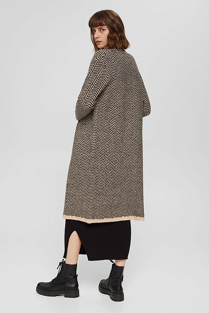 Con lana: cárdigan con diseño de espiga, BLACK, detail image number 3