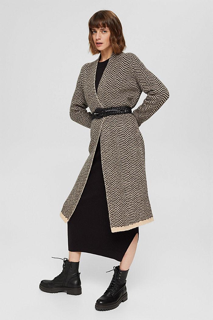 Con lana: cárdigan con diseño de espiga, BLACK, detail image number 1