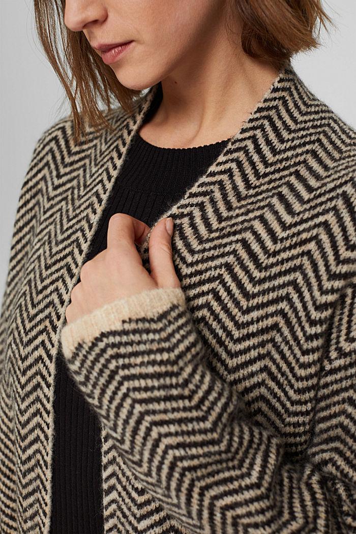 Con lana: cárdigan con diseño de espiga, BLACK, detail image number 2