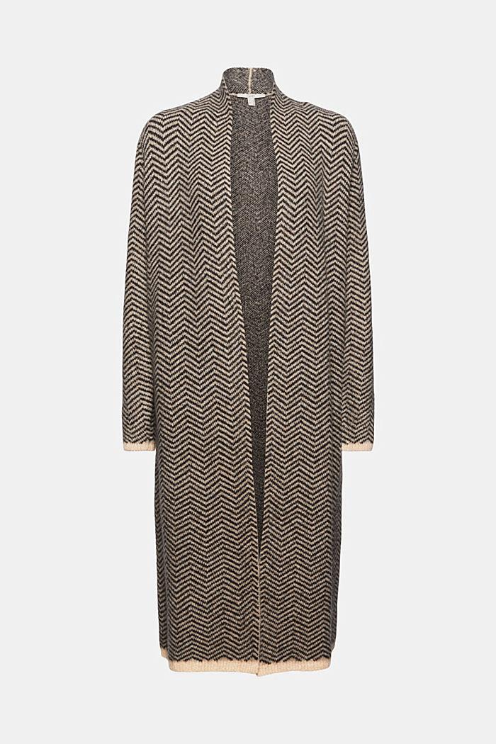 Con lana: cárdigan con diseño de espiga, BLACK, detail image number 5
