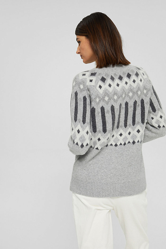 Mit Wolle: Pullover mit Jacquard-Muster, LIGHT GREY, detail image number 3