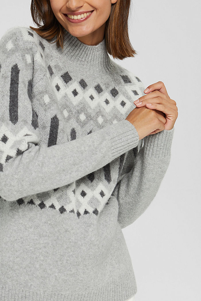 Mit Wolle: Pullover mit Jacquard-Muster, LIGHT GREY, detail image number 2