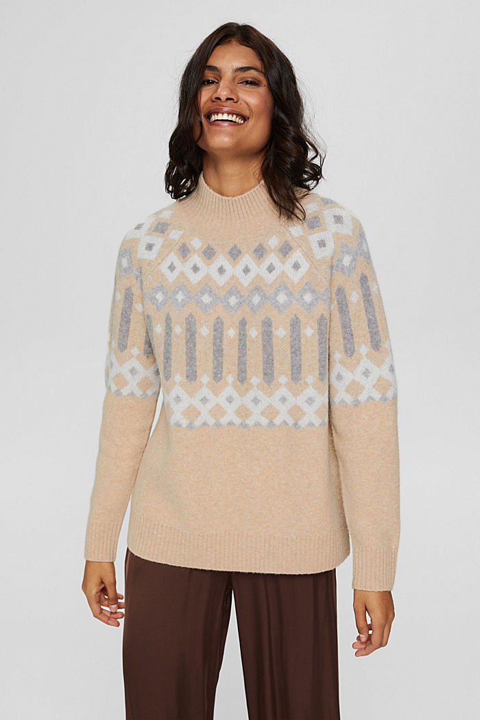 Mit Wolle: Pullover mit Jacquard-Muster, SAND, detail image number 0