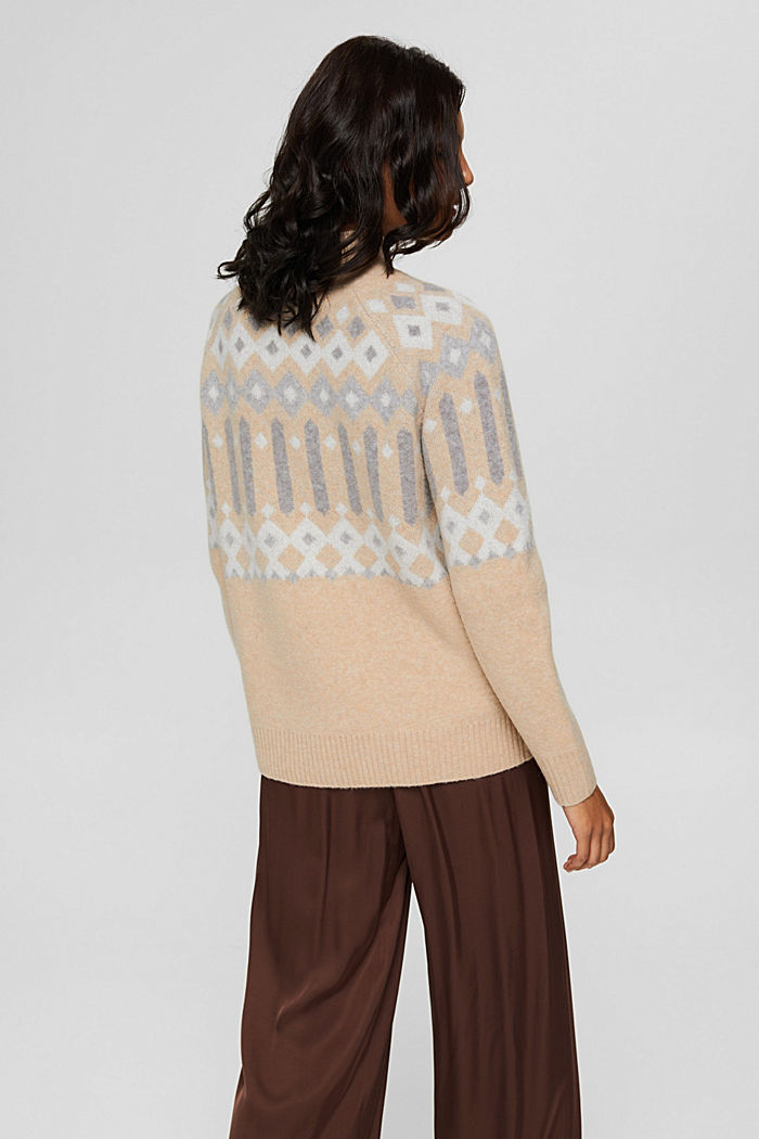 Mit Wolle: Pullover mit Jacquard-Muster, SAND, detail image number 3