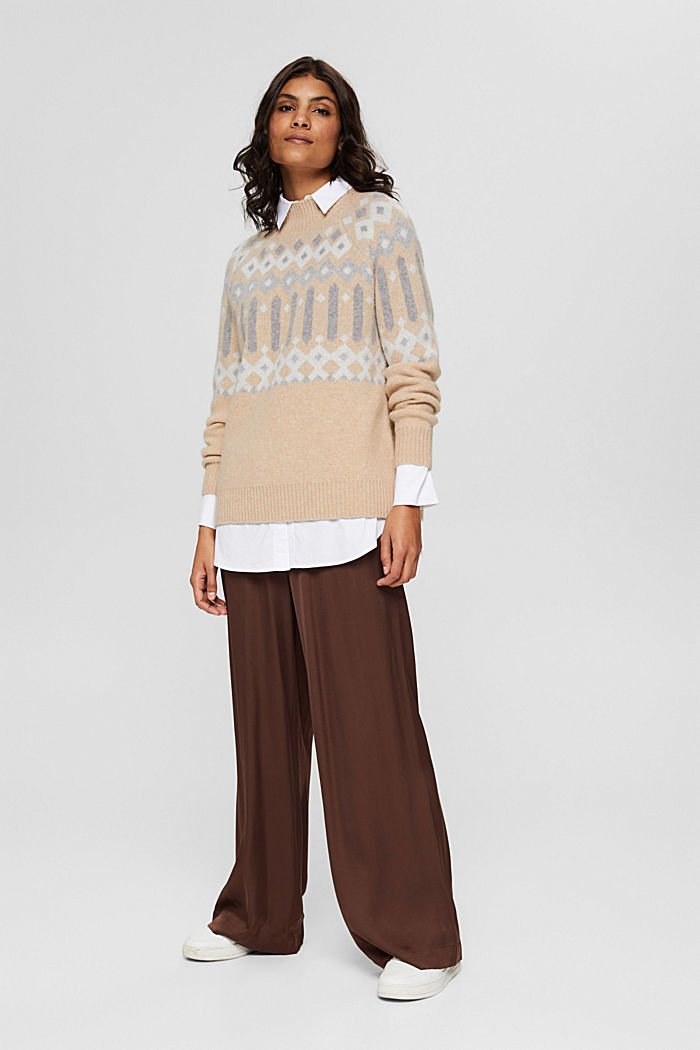 Mit Wolle: Pullover mit Jacquard-Muster, SAND, detail image number 1