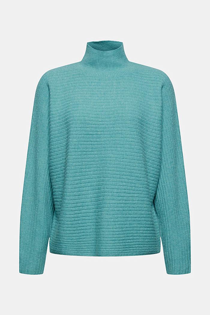 Mit Wolle: Raglan-Pullover mit Stehkragen
