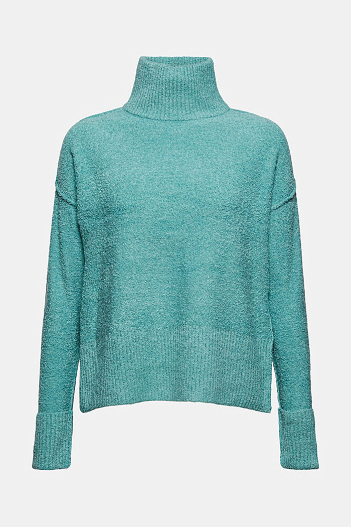 Wool blend: Jumper with a stand-up collar