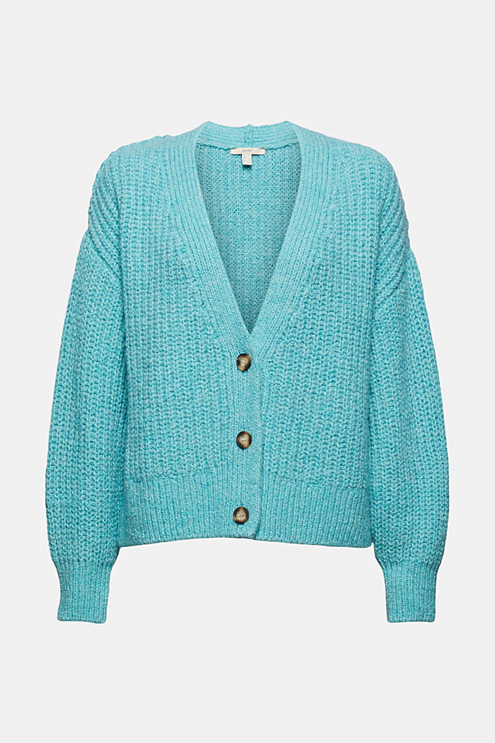 Thick cardigan made of blended organic cotton