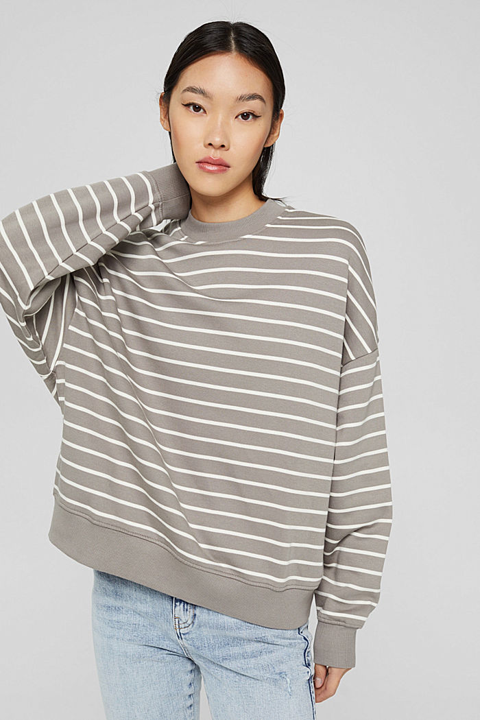 Geringeltes Sweatshirt aus Bio-Baumwolle, GUNMETAL, detail image number 0