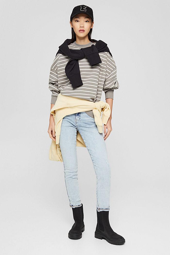 Geringeltes Sweatshirt aus Bio-Baumwolle, GUNMETAL, detail image number 1
