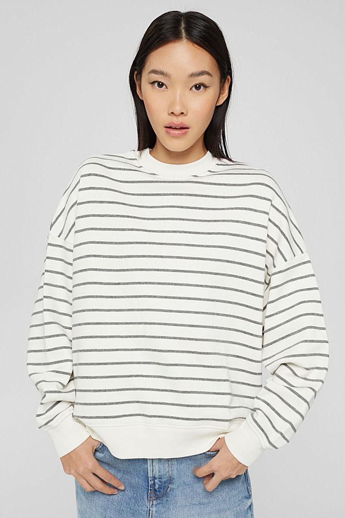 Sweat-shirt rayé en coton biologique mélangé, OFF WHITE, detail image number 0
