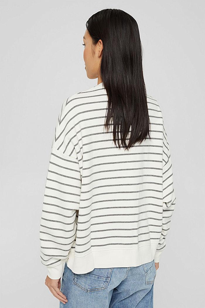 Sweat-shirt rayé en coton biologique mélangé, OFF WHITE, detail image number 3
