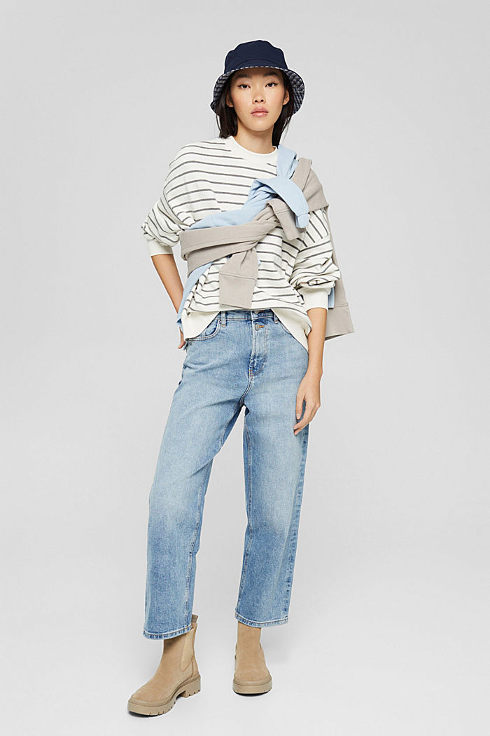 Sweat-shirt rayé en coton biologique mélangé, OFF WHITE, detail image number 1