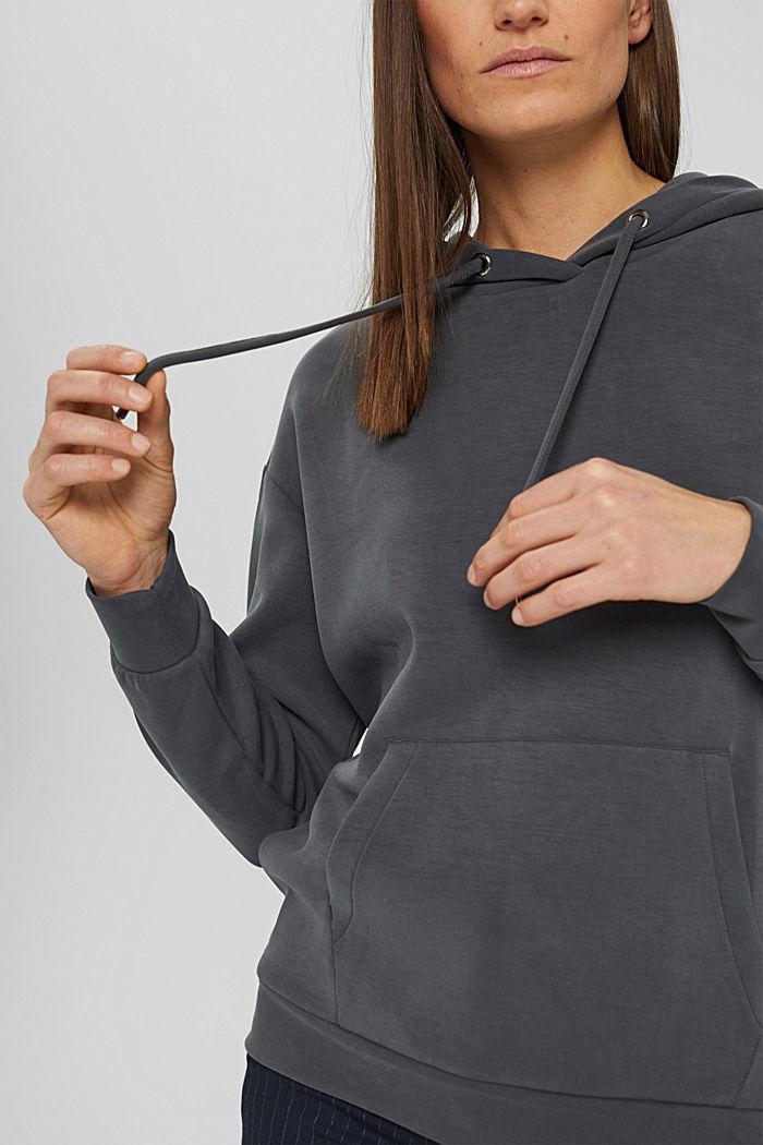 Sweat à capuche en molleton compact à teneur en TENCEL™, ANTHRACITE, detail image number 2