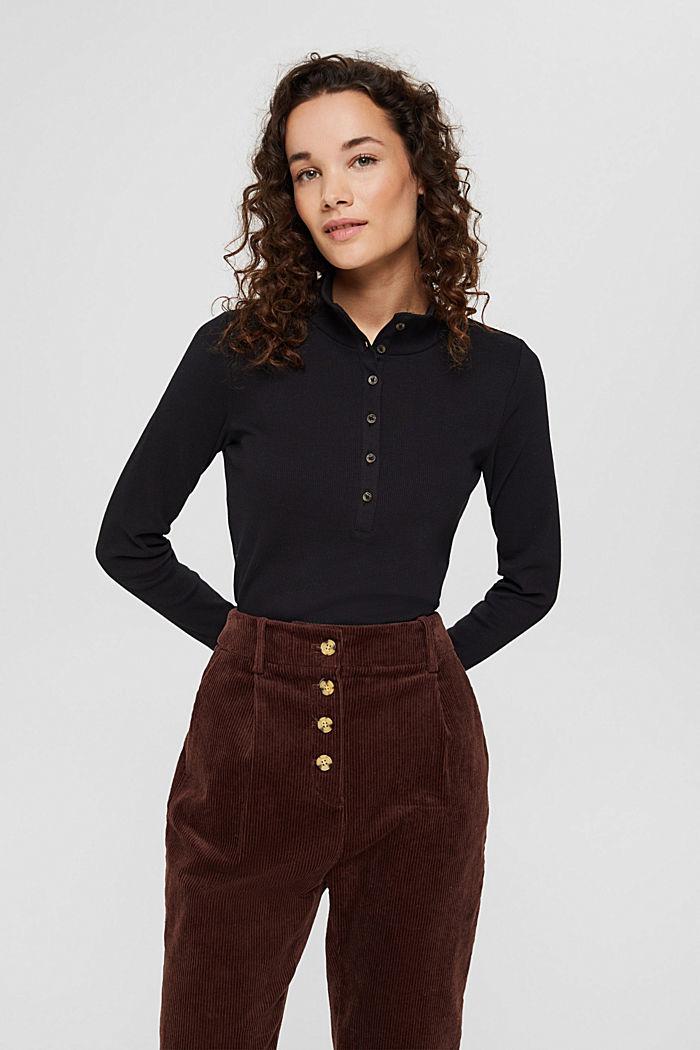 T-shirt à manches longues et patte de boutonnage, coton biologique, BLACK, detail image number 0