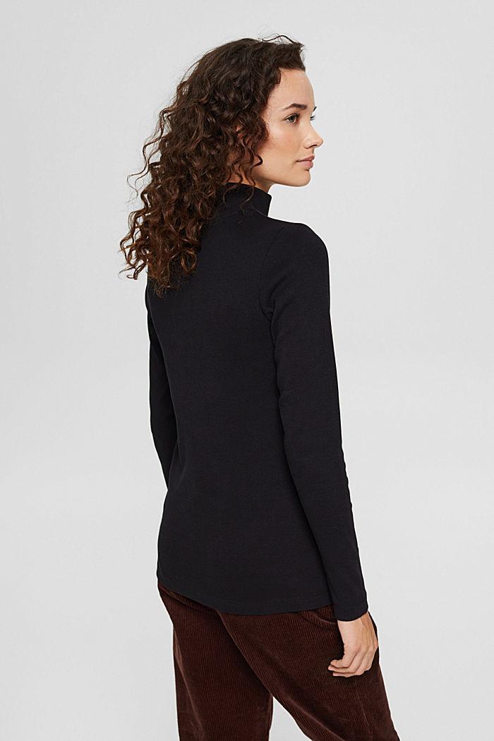 T-shirt à manches longues et patte de boutonnage, coton biologique, BLACK, detail image number 3