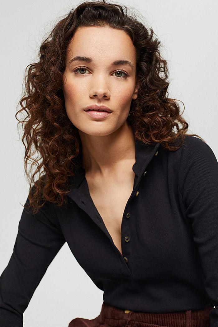 T-shirt à manches longues et patte de boutonnage, coton biologique, BLACK, detail image number 5