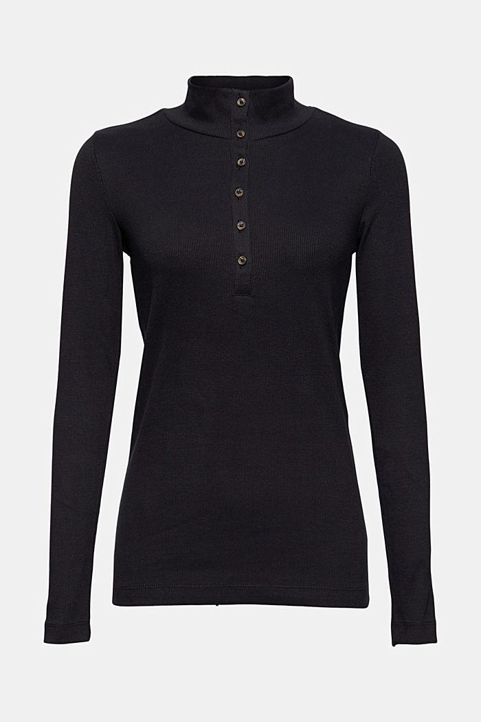 T-shirt à manches longues et patte de boutonnage, coton biologique, BLACK, detail image number 6
