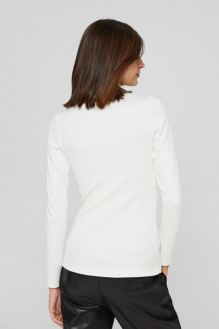 Camiseta de manga larga con tira de botones, algodón ecológico, OFF WHITE, detail image number 3