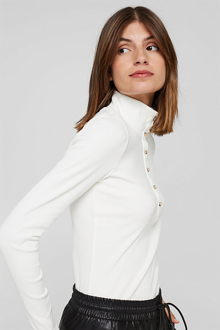 Camiseta de manga larga con tira de botones, algodón ecológico, OFF WHITE, detail image number 5