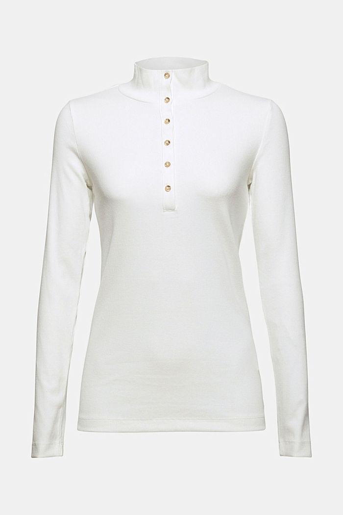 Camiseta de manga larga con tira de botones, algodón ecológico, OFF WHITE, detail image number 7