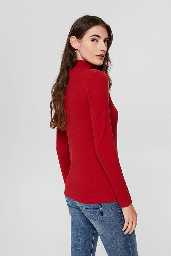 Camiseta de manga larga con tira de botones, algodón ecológico, DARK RED, detail image number 3