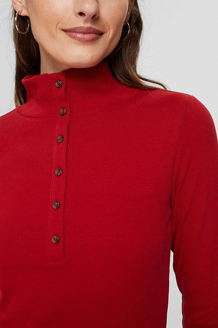 Camiseta de manga larga con tira de botones, algodón ecológico, DARK RED, detail image number 2