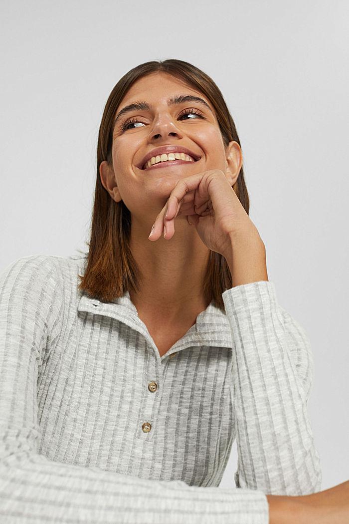 Camiseta acanalada con cuello alto y tira de botones, LIGHT GREY, detail image number 5