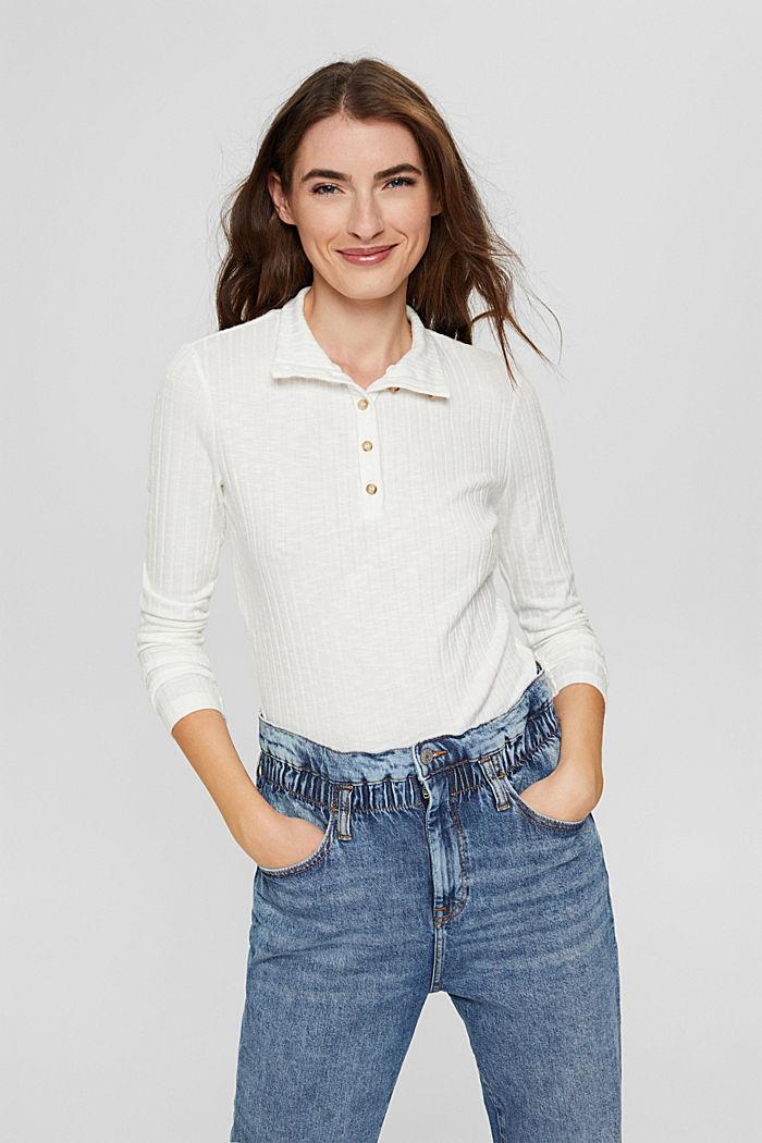 Geribd shirt met opstaande kraag en knoopsluiting, OFF WHITE, detail image number 0