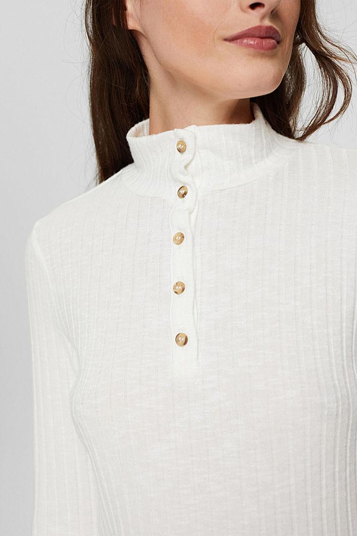 Geribd shirt met opstaande kraag en knoopsluiting, OFF WHITE, detail image number 2
