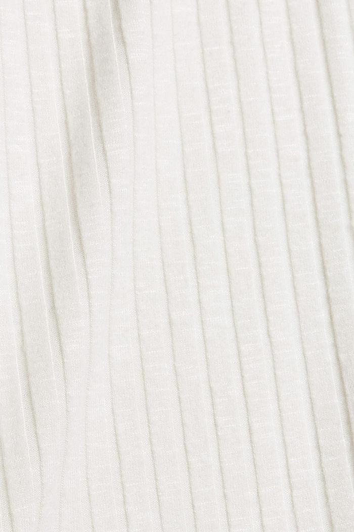 Geribd shirt met opstaande kraag en knoopsluiting, OFF WHITE, detail image number 4