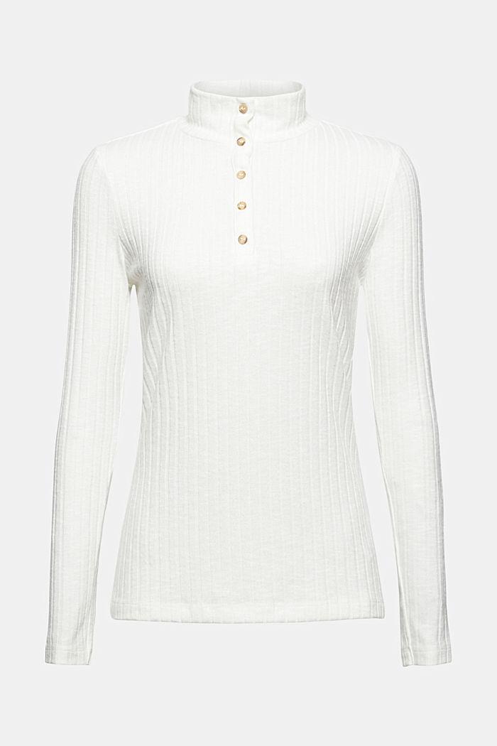 Geribd shirt met opstaande kraag en knoopsluiting, OFF WHITE, detail image number 7