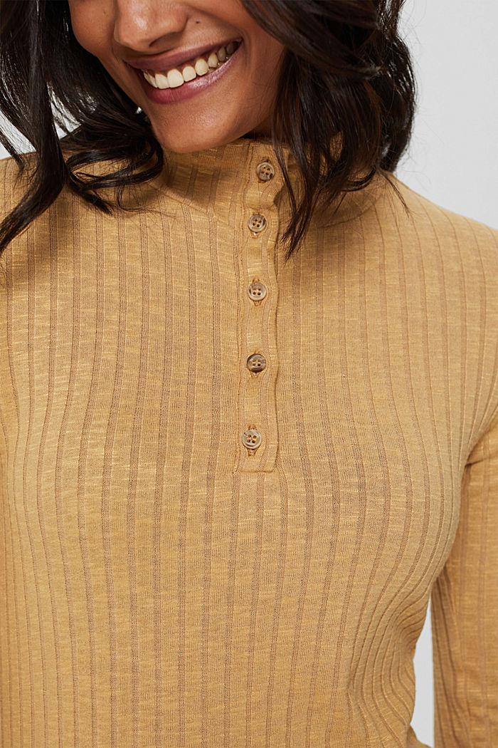 T-shirt côtelé à col droit et patte de boutonnage, KHAKI BEIGE, detail image number 2