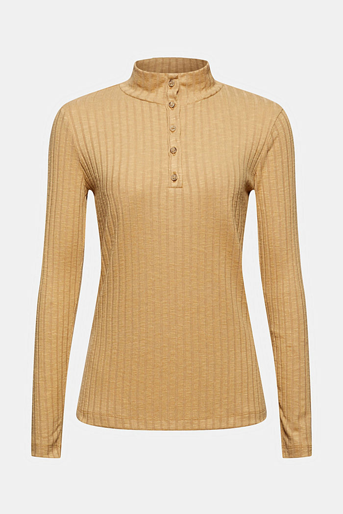 T-shirt côtelé à col droit et patte de boutonnage, KHAKI BEIGE, detail image number 6