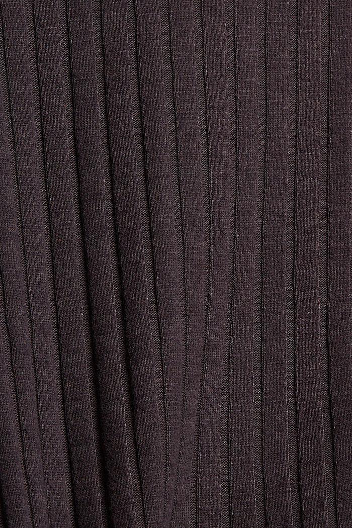 Geripptes Longsleeve mit Stehkragen, ANTHRACITE, detail image number 4