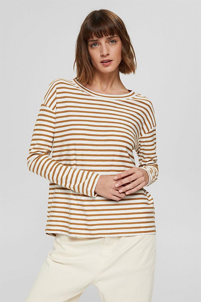 T-shirt rayé à manches longues, 100% coton biologique, CAMEL, detail image number 0