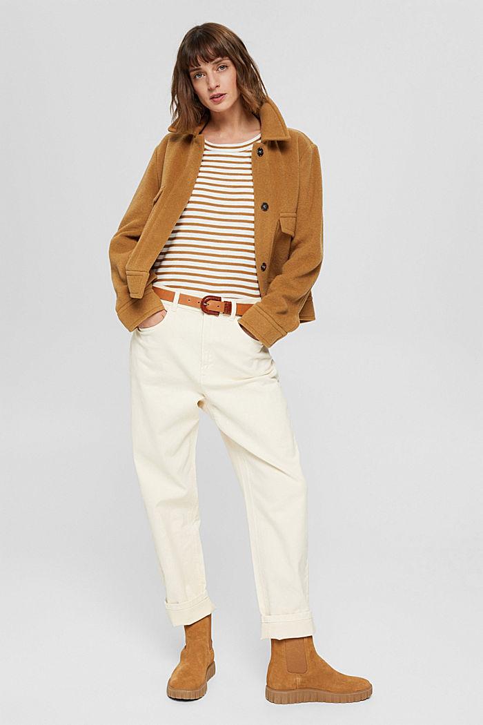 T-shirt rayé à manches longues, 100% coton biologique, CAMEL, detail image number 1